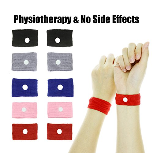 Relief Wristband - DR.DUDU 5 Pairs Motion Sickness Relief Wristbands Acupressure Wristbands Nausea Relief Band Morning Sickness & Sea, Travel, Car Sickness