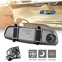 """ieGeek Car Camera FHD 1080P Night Vision 170°Wide Angle Dual Lens 5"""" TFT Screen DVR with HDR Loop Recording G-Sensor Motion Detection Parking Assistance"""
