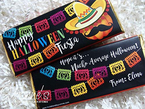 0467df860dc Halloween Candy Bar Wrapper - Personalized Halloween Fiesta Chocolate Bar  Favor - For Halloween Party