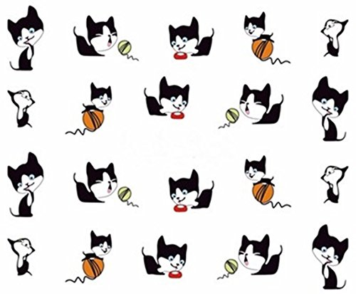 (1 Sets 3D Sweet Cat Nail Art Stickers Water Transfer Nails Wrap Paint Tattoos Stamper Plates Templates Tools Tips Kits Great Popular Xmas Christmas Winter Snow Stick Tool Vinyls Decals Kit, Type-05)