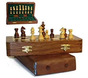 "Magnetic 3.5"" Folding Wood Chess"