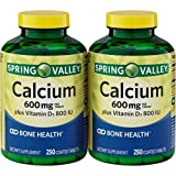 Spring Valley – Calcium 600 mg with Vitamin D3, Twin Pack, 250 Tablets each pack