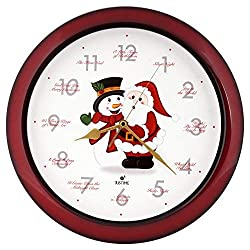 Justime Splendid 14-inch 12 Song of Carols of Christmas Warm Santa Claus & Snowman Melody Wall Clock,Quartz Home Wall Deco Clock (SS RED)