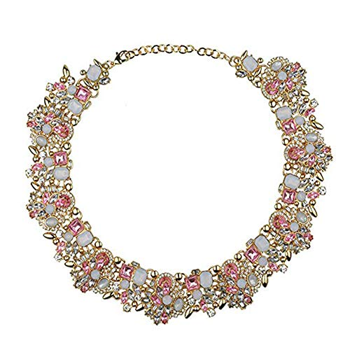 NABROJ Choker de Cristal Pink Necklaces for Women, Drag Queen Jewelry Bulsh Pink Crystal Frontal Bib Necklace Elegant Chunky Balance Jewelry for Women Teen Girls-HLN001 Pink-1