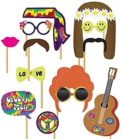 1970s Hippie Hippy Party Photo Booth Selfie Fun Props Fancy Dress Accessory Kit