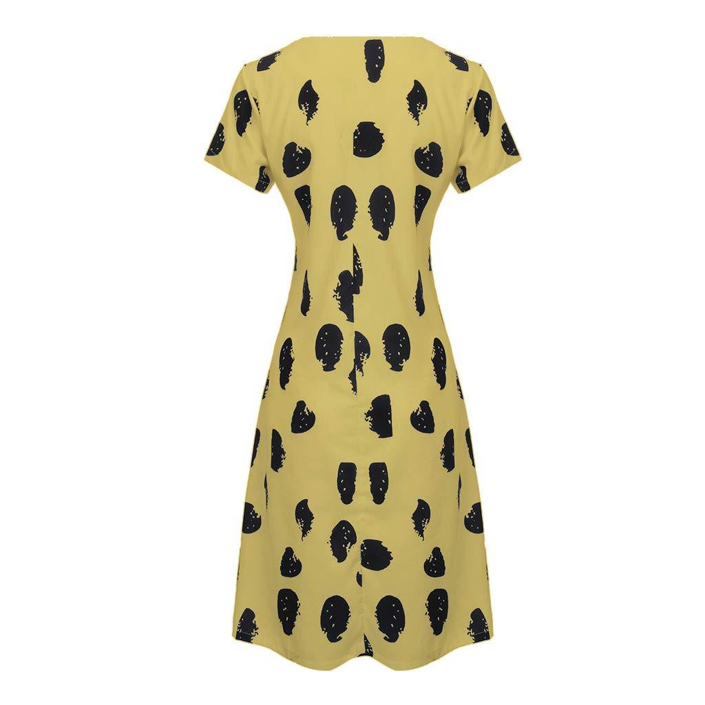 Clothful  Women Dress, Women Casual Summer Print V-Neck Short Sleeve T-Shirt Dress Mini Dress Yellow by Clothful (Image #2)