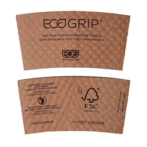 Eco-Products EcoGrip Compostable Hot Cup Sleeves, Brown, Case of 1300 (EG-2000)