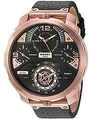 Diesel Mens DZ7380 Machinus  Rose Gold Black Leather Watch