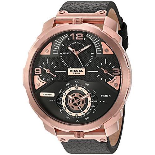 Diesel Men's DZ7380 Machinus  Rose Gold Black Leather Watch