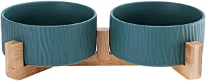 LIONWEI LIONWELI Green Ceramic Cat Dog Bowl Dish with Wood Stand No Spill Pet Food Water Feeder Cats Dogs Set of 2