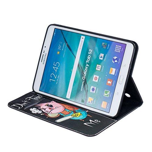 Trumpshop Smartphone Carcasa Funda Protección para Samsung Galaxy Tab S2 8.0 Pulgadas (T710,T715) + dos mariposas + PU Cuero Caja Protector Billetera Choque Absorción Dont Touch Me (Cerdito)