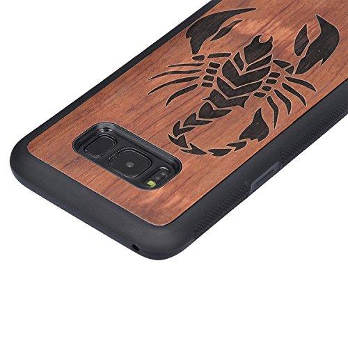 Vandot Samsung Galaxy S8 Plus Funda de Madera - Bamboo Wood y PC - Natural Hecha a mano de Bambú / Madera Carcasa Case Cover para Smartphone Samsung Galaxy S8+ / S8 Plus (6.2 Pulgada), Diseño de Cráne PC Wood 10