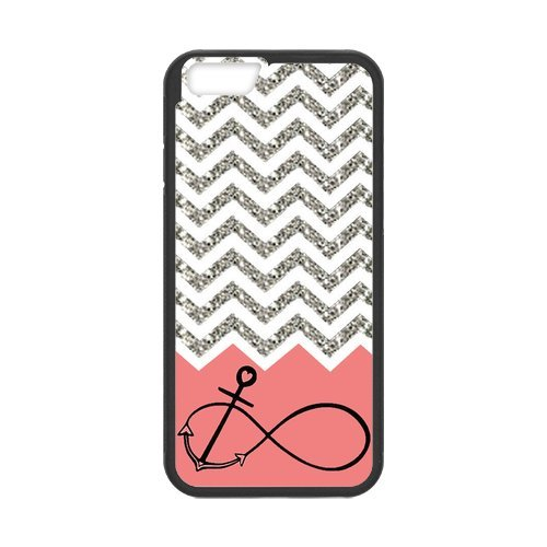 Gray Chevron Splicing Pink Background Anchor Infinite Black Stylish Cover Case For Iphone 6 Plus (5.5inch) with high-quality Silicon Rubber