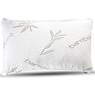 Bamboo Pillow - Premium Pillows for Sleeping - Memory Foam Pillow with Washable Pillow Case - Adjustable by Sleepsia