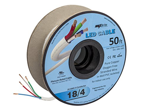 - 18AWG Low Voltage LED Cable 4 Conductor In-Wall Jacketed Pure Copper Speaker Wire UL/cUL Class 2 (50ft. Spool)