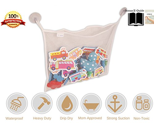 [JJ's Splash Bath Toy Organizer + 2 Bonus Strong Hooked Suction Cups, White - Keeps Toys Dry & Mold] (Sassy Big Bird Costume Review)
