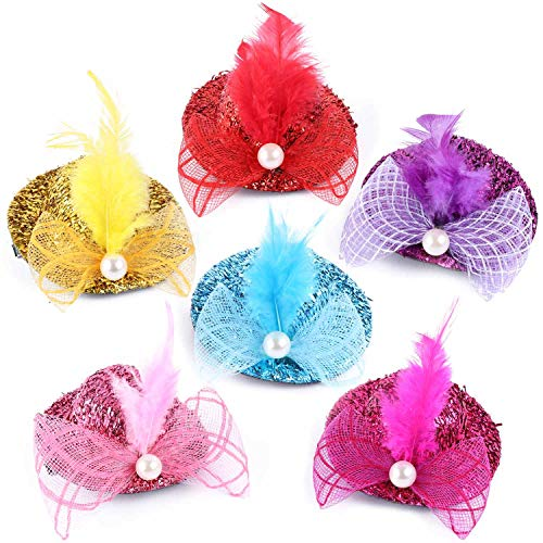 Tbestmax 12 Mini Hat Hair Clips Tea Party Hats Fascinator Clip for Women Lady Favor Decorative Hair Accessories with Pearl Feather Ribbon and Netting