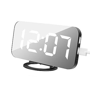 Reloj despertador digital, reloj despertador Reloj despertador digital, pantalla de cristal negro con grandes números, visible la noche: Amazon.es: Hogar