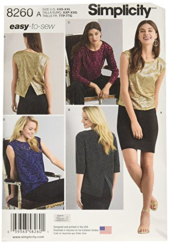 Simplicity Creative Patterns US8260A 8260 Simplicity Pattern 8260 Misses' Top In Two Lengths with Back Interest, Size: A (XXS-XS-S-M-L-XL-XXL),,