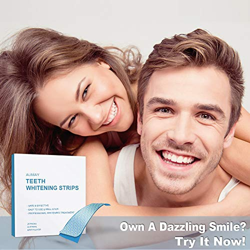 Professional Teeth Whitening Strips- 40 Strips Pack, Whiten Your Teeth With 3D Dental Hydrogen Peroxide White Strips, Non-Slip Dry Strips, Removes Coffee, Tea & Tobacco Stains