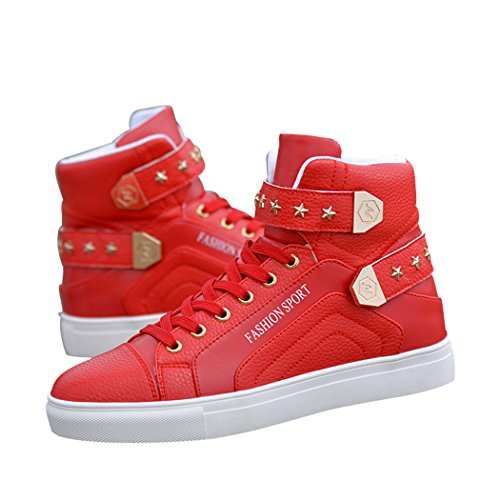 Sun Florence Men's High Top Fashion Skateboard Shoes Street Hip Hop Leather Sneakers Red 44