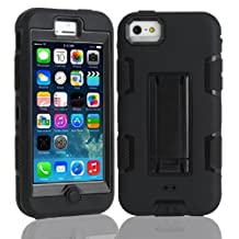 5C Case, iPhone 5C Case Cover,Lantier Full Body Hybrid Impact Shockproof Defender Case Cover With Kickstand for Apple iPhone 5C Black-Black