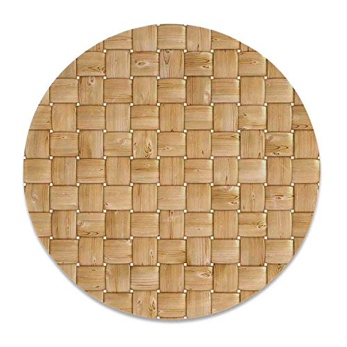 YOLIYANA Beige Round Ceramic Decorative Plate,Illustration of Thic Woven Oak Wood Patterns Natural Simple Harvest Style Contemporary Deco Decorative for Table Or Wall,7 inch (Accents Plate Contemporary Wall Oak)
