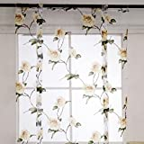 Floral Printed Window Curtains Voile Curtain for Home Door Kitchen Office Decoration Modern Tulle-Yellow