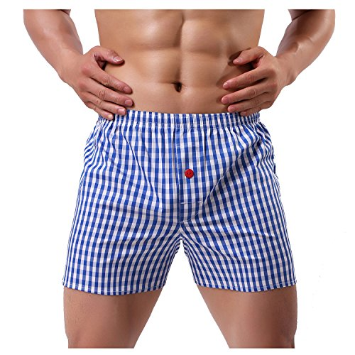 Leories Men's Cotton Classic Woven Boxer Shorts Plaid Underwear Button Fly XL ()