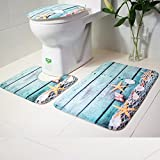 YJYdada Bathroom Non-Slip Blue Ocean Style Pedestal Rug + Lid Toilet Cover + Bath Mat (A)