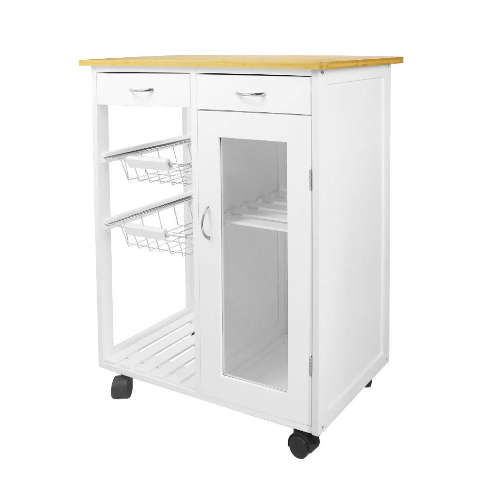 Kitchen Island Storage Cabinet Wooden Table Portable Cart Wheels Rolling with Drawer Wire Basket