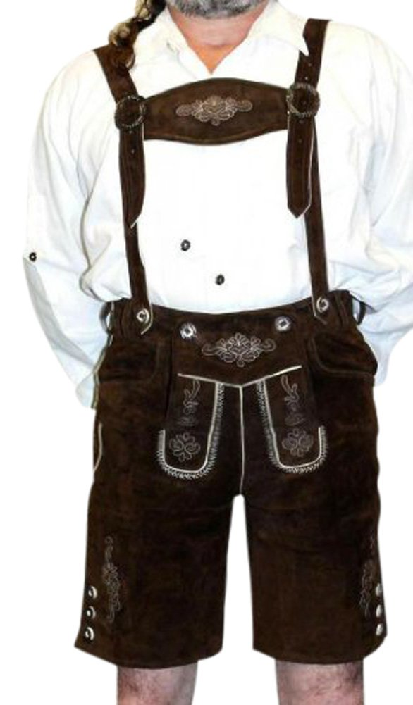 2-Piece Leather German Oktoberfest Lederhosen Shorts Brown (30'')