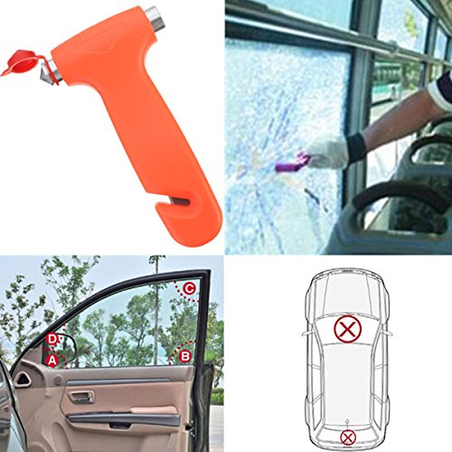 New 2 in 1 Car Emergency Safety Escape Hammer Glass Window stained glass hammer window breaker seat belt with keychain bubbler wise car vehicle emergency survival kit - 2 Shelf Metallic Cabinet
