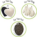 Facial Cellulitis Baby - Zen Me Exfoliating Set 2 Pairs Body Wash / Scrub Gloves, 2 Konjac Face Sponge White / Charcoal, 1 Pumice Lava Stone, Best for Natural Skin Exfoliation and Gentle Facial Cleansing, for Bath / Shower