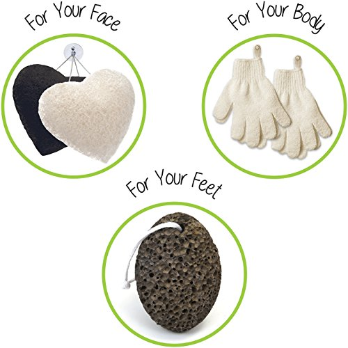 et 2 Pairs Body Wash & Scrub Gloves + 2 Konjac Face Sponge White & Charcoal + 1 Pumice Lava Stone, Best for Deep Exfoliation & Gentle Facial Cleansing, for Bath & Shower (Very Gentle Cleansing Cream)