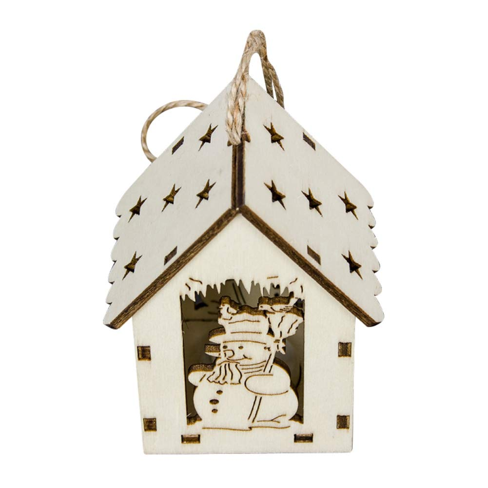 MacRoog Wood Pendants Christmas Tree Hanging LED Light Ornaments Holiday Home Décor