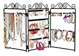Finnhomy 3-Panel Folding screen Jewelry Display Stand Hanger Earrings, Bracelets, rings, necklaces organizer Black