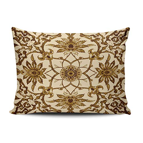Fanaing Bedroom Custom Decor Art Nouveau Chinese Pattern Brown and Beige Pillowcase Soft Zippered Gold Throw Pillow Cover Cushion Case Fashion Design One-Side Printed Standard 16X24 Inches