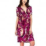 Summer Dress Women Sexy V Neck Print Wrap Dresses Casual Vintage Tunic Short Sleeve Knee Length Dress