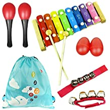 kilofly 6 Rhythm Toys in red (2 Maracas, 2 Egg Shakers, 2 Wrist Bells),and Xylophone Mini Band Musical Instruments