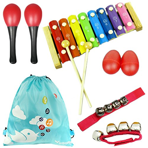 KF baby kilofly Mini Band Musical Instruments Value Pack, Xylophone + 6 Rhythm Toys [2 Maracas, 2 Egg Shakers, 2 Wrist Bells, Red]