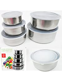 Access 10 Pcs Steel Metal Food Storage Saver Containers Mixing Bowl Cookware Set New ! dispense