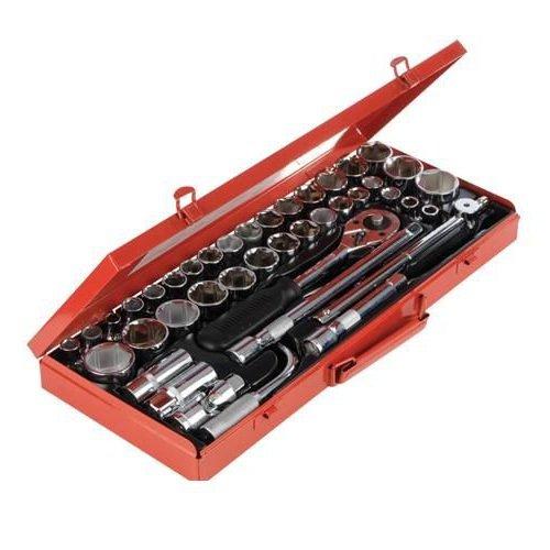 "Socket Wrench Set 1//2/"" Drive Metric//AF 42pce Chrome vanadium polished handle"