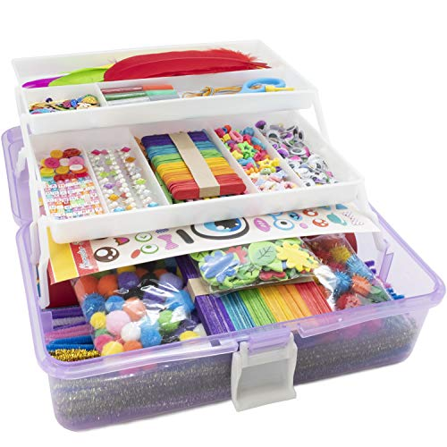 Olly Kids Arts and Crafts Supplies Set- 1000+ Pieces Giftable Craft Box for Kids: DIY Craft Supplies for Toddlers…