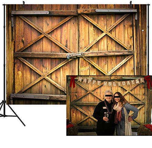 DULUDA 7X5FT Barn Door with Lock Pictorial Cloth Customized Photography Backdrop Background Studio Prop WXL17]()