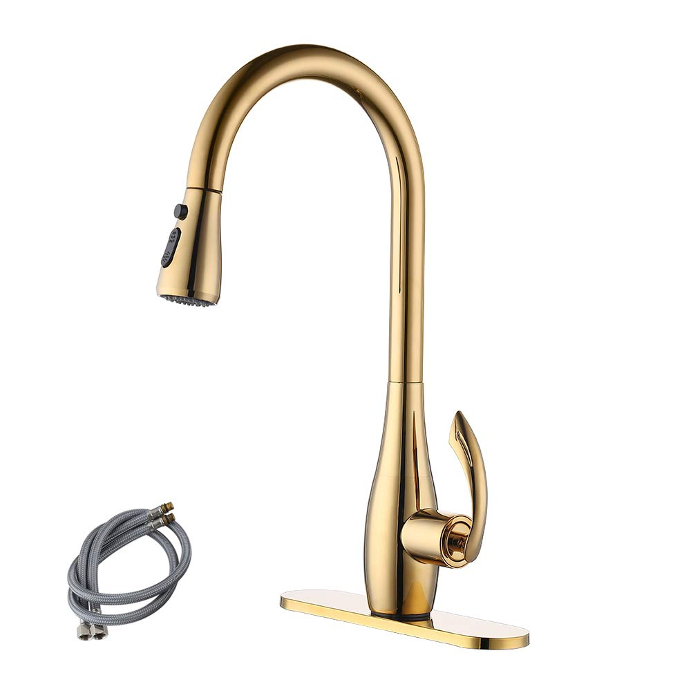 KES cUPC NSF Certified BRASS Singel Handle Pull Down Kitchen Faucet with Retractable Pull Out Wand, High Arc Swivel Spout, Titanium Gold, L6938LF-PG