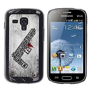 Caucho caso de Shell duro de la cubierta de accesorios de protección BY RAYDREAMMM - Samsung Galaxy S Duos S7562 - I'm Fighting Deep Message