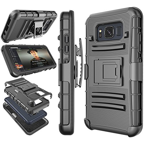 Galaxy S8 Active Case, S8 Active Holster Clip, Tekcoo [Hoplite] Shock Absorbing [Black] Swivel Locking Belt Defender Full Body Kickstand Carrying Armor Cases Cover for Samsung Galaxy S8 Active at&T