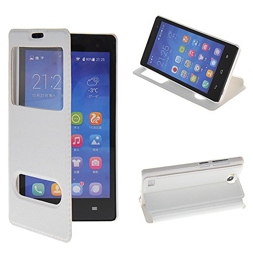 Huawei Honor 3C Case,COOLKE [White] Stylish Folio Case View Window Ultra Thin Flip Cover for Huawei Honor 3C