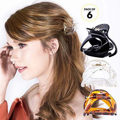 Clear Brown Braid - RC ROCHE ORNAMENT Womens Oval Hollow Curved Jaw Clamp Barrette Interlocking Teeth No Slip Grip Beauty Fashion Girls Classic Plastic Accessory Hair Clip, 6 Pack Count Medium Clear Brown and Black